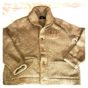 Cream RRL cable knit sweater